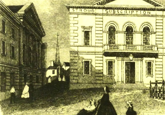 an etching of Stroud congrgational church